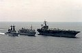USS Savannah (AOR-4) refueling USS Eisenhower (CVN-69) and USS Spruance (DD-963) c1985.JPEG