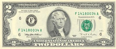 United States Currency 2 Bill