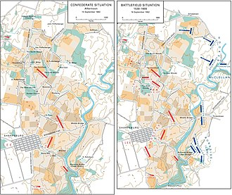 Battle of Antietam - Battlefield of Antietam, situation September 15 to 16, 1862