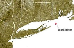 Block Island, shown in red, off the coast of the State of Rhode Island.