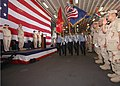 US Navy 070614-N-1226D-022 The color guard aboard amphibious assault ship USS Bonhomme Richard (LHD 6) parades the colors during a change of command ceremony.jpg