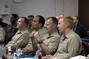 Balikatan - U.S. Navy captains are briefed on Philippine and U.S. Navy events at a pre-sail conference aboard the amphibious assault ship USS Essex, Balikatan 2008