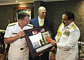 US Navy 090517-N-6604E-061 Vice Adm. Bill Gortney, commander of U.S. Naval Forces Central Command, presents a gift to the King of Bahrain, His Majesty the King Hamad bin Isa Al Khalifa.jpg