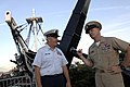 US Navy 090827-N-9818V-677 Master Chief Petty Officer of the Navy (MCPON) Rick West speaks with a U.S. Coast Guard chief petty officer in front of the USS Constitution.jpg