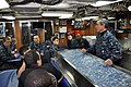 US Navy 100222-N-3289C-096 Vice Adm. Harry B. Harris Jr., commander of U.S. 6th Fleet, speaks with Sailors assigned to the Fast-attack submarine USS Albany (SSN -753).jpg