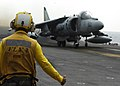 US Navy 101209-N-2218S-056 An AV-8B Harrier jet aircraft prepares to take off aboard the amphibious assault ship USS Essex (LHD 2) to take part in.jpg