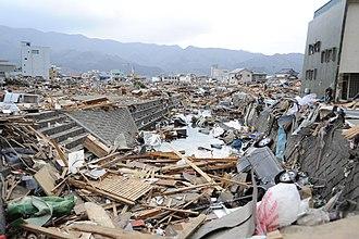 Ōfunato, Iwate - Downtown area of Ōfunato following the 2011 tsunami