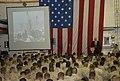 US Navy 110911-N-UT455-069 Sailors and Marines aboard the amphibious transport dock ship USS Green Bay (LPD 20) listen as guest speaker Lt. Roger P.jpg