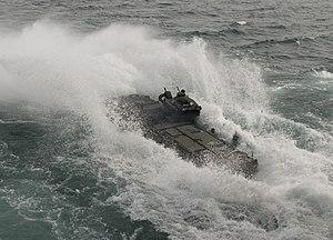 US Navy 120207-N-NL541-447 An amphibious assault vehicle (AAV) assigned to 2nd Amphibious Assault Battalion, Delta Company, 1st Platoon, exits the.jpg