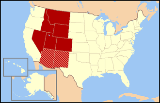 Mountain States - Regional definitions vary from source to source. The states shown in dark red are always included, while the striped states are usually considered part of the same region called the Mountain States.