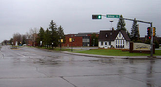 Superior, Wisconsin - Main entrance of the University of Wisconsin–Superior, with Campus Welcome Center in foreground.