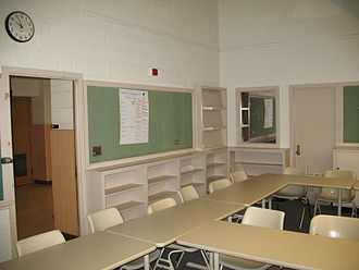 Laboratory school - Former laboratory school at the University of Wisconsin-Eau Claire, showing observation room with a one-way mirror to the right of the classroom