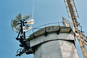 Upminster Windmill - The cap, fantail and sails in June 2006.