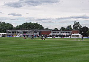 Uxbridge Cricket Club Ground - The clubhouse and ground during a match in 2012