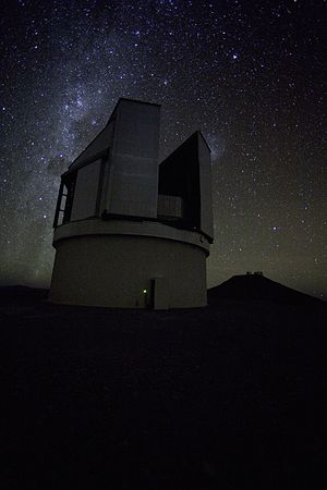 VISTA (telescope) - VISTA at night (Credit: ESO).