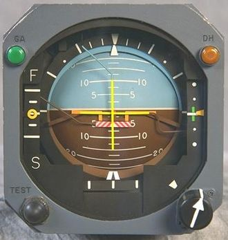 Attitude indicator - Attitude indicator with integrated localizer and glideslope and split-cue flight director command bar indicators, indicating brown earth below and sky above, wings level with horizon, in a slight nose-down attitude.