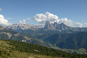 Val Gardena with Sella and Saslonch from Resciesa.JPG