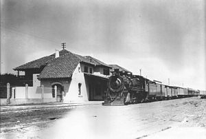 Córdoba Central Railway - A steam locomotive at Valle Hermoso train station.