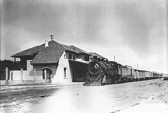 Córdoba Central Railway - A steam locomotive at Valle Hermoso train station.