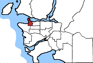 Vancouver Centre - Vancouver Centre in relation to the other Vancouver area ridings