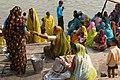 Varanasi, India, Hindu pilgrims in saris.jpg
