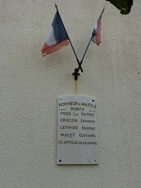 Vaux-lès-Rubigny (Ardennes) plaque monument aux morts