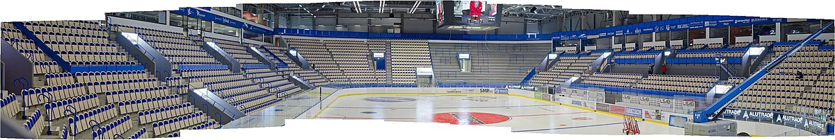 Panorama of Vida Arena's ice hockey rink from the restaurant.