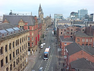 Princess Street, Manchester - Aerial view down Princess Street to Manchester Town Hall.