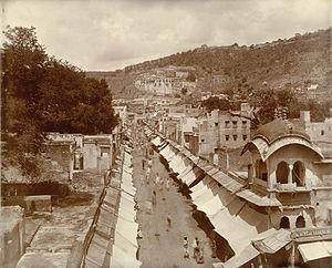 History of Bundi - View looking along a bazaar at Bundi taken by Gunpatrao Abajee Kale, c.1900.