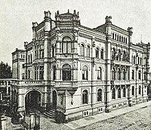 Zeitgenössische Abbildung der Villa Ernst Keil in der Goldschmidtstraße 33 in Leipzig. Die Villa wurde 1943 zerstört. (Quelle: Wikimedia)