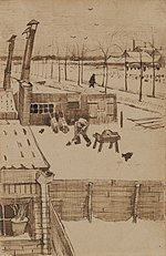 Vincent van Gogh - View from the window of Vincent's studio in winter I (1883).jpg
