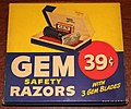 Vintage Store Display Box With 6 Gem Junior Single Edge Safety Razors, The Parade Model, American Safety Razor Corporation, Made In USA, Circa 1947 (34286346116).jpg