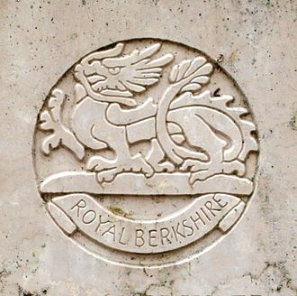 Royal Berkshire Regiment - Cap badge of the Royal Berkshire Regiment as shown on a First World War grave at Vouziers military cemetery