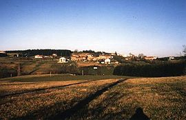 Distant view of the hamlet of Auroure, part of the commune of Saint-Ferréol-d'Auroure