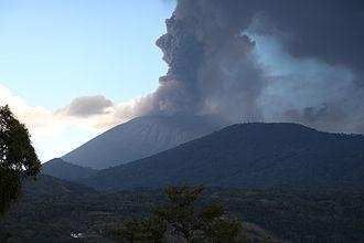 Tourism in El Salvador - The San Miguel (volcano) during the eruption of December 29, 2013.