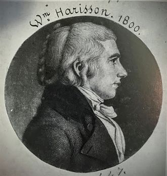 Engraved portrait print of Harrison at age 27