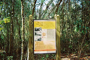 "Citrus County, Florida - Sign on the Withlacoochee State Trail marking the site of the ""Great Train Wreck of 1956"" at Pineola, Florida."