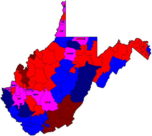 Map of the composition of the West Virginia House of Delegates of the 81st (2013-2015) Legislature.