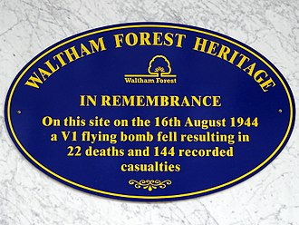 Central Parade, Walthamstow - Plaque marking the V1 attack in 1944.