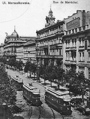 Trams in Warsaw - Electric trams on Marszałkowska Street, 1914