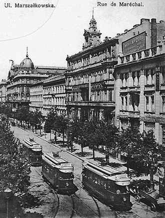 Trams in Warsaw - Electric trams on Marszałkowska Street, 1914