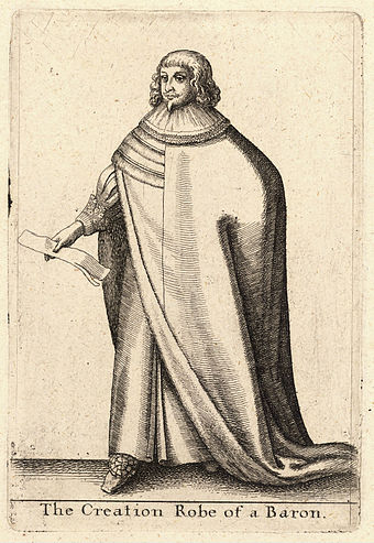 The robe worn by a baron during his creation ceremony in 17th-century Britain, engraved by Wenceslas Hollar. Wenceslas Hollar - A baron (State 1).jpg