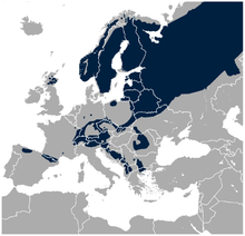 Western Capercaillie Tetrao urogallus distribution in Europe map.png
