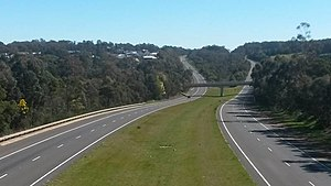 Western Highway (Victoria) - A view of the Western Freeway (M8) at Nerrina looking west toward Doodts Road, Ballarat North and Invermay from the Nerrina pedestrian overpass.
