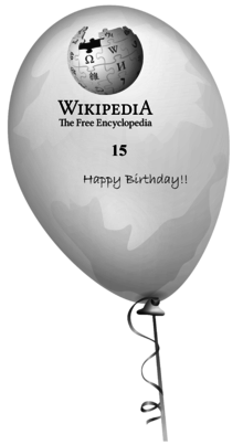 Balloon to be released with best wishes for Wikipedia 15