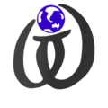 Wikt calligraphy logo nb globe blue.png