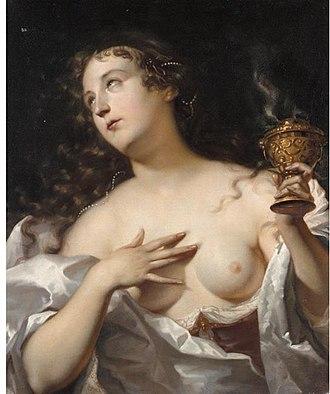 Willem Doudijns - A Vestal Virgin with a fuming incense burner .