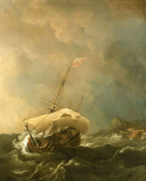 File:Willem Van de Velde The Younger, An English Ship in a Gale Trying to Claw off a Lee Shore. Oil on canvas, 160.2 x 132.8 cm., 1672..jpg