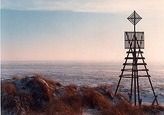 Schiermonnikoog - The triangulation beacon on Willemsduin in wintertime