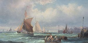 William Anslow Thornley - Fishing boats off a harbour, and another similar (II).jpg